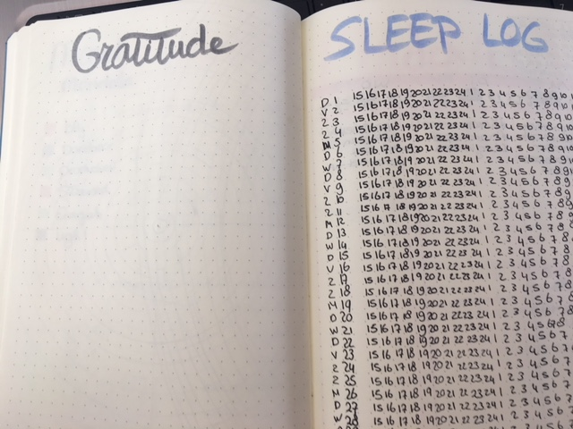 Gratitude en sleep log maart 2018